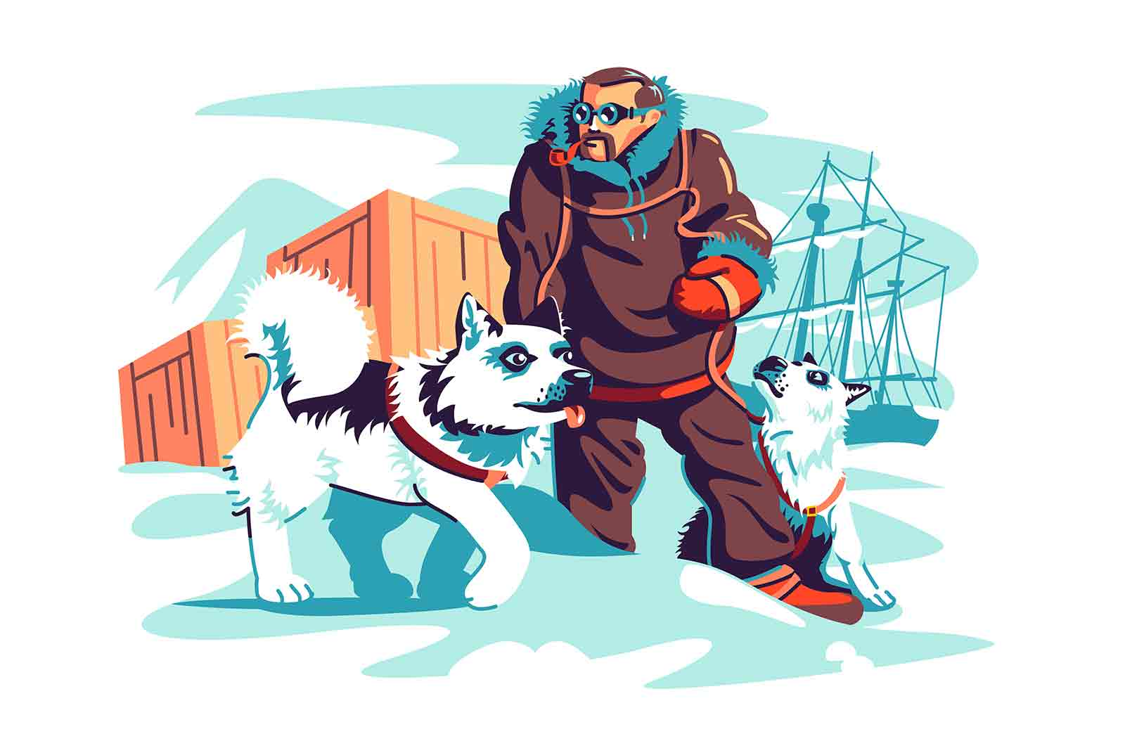 Brave male adventurer on north pole vector illustration. Man in winter clothes with dogs flat style. Travel to antarctica, scientific station concept. Isolated on white background