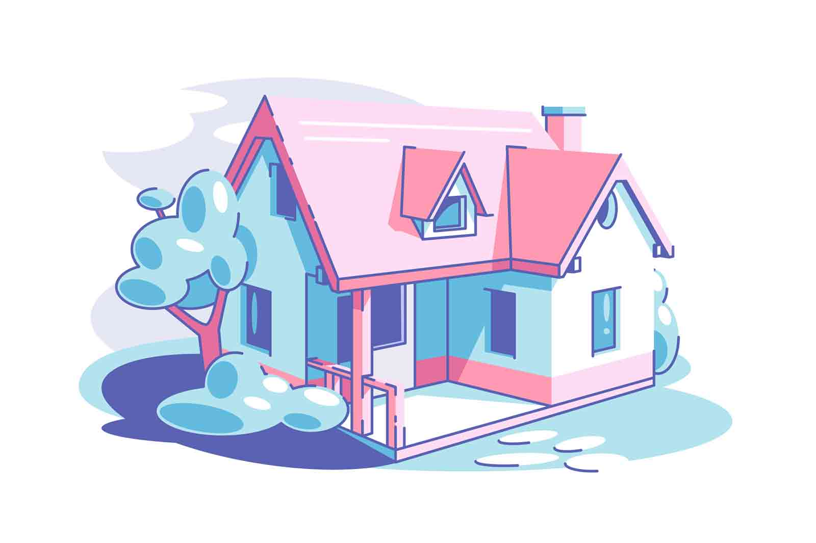 One-storey private house vector illustration. Cottage house with territory flat style. Building for family living. Countryside and property concept.