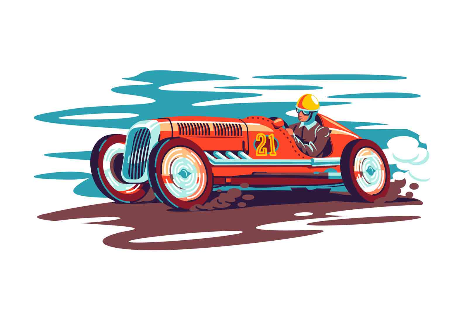 Man driver in red race car vector illustration. Kart racing winner wearing helmet flat style. Guy in auto on race track. Sport cat, competition, retro concept. Isolated on white background
