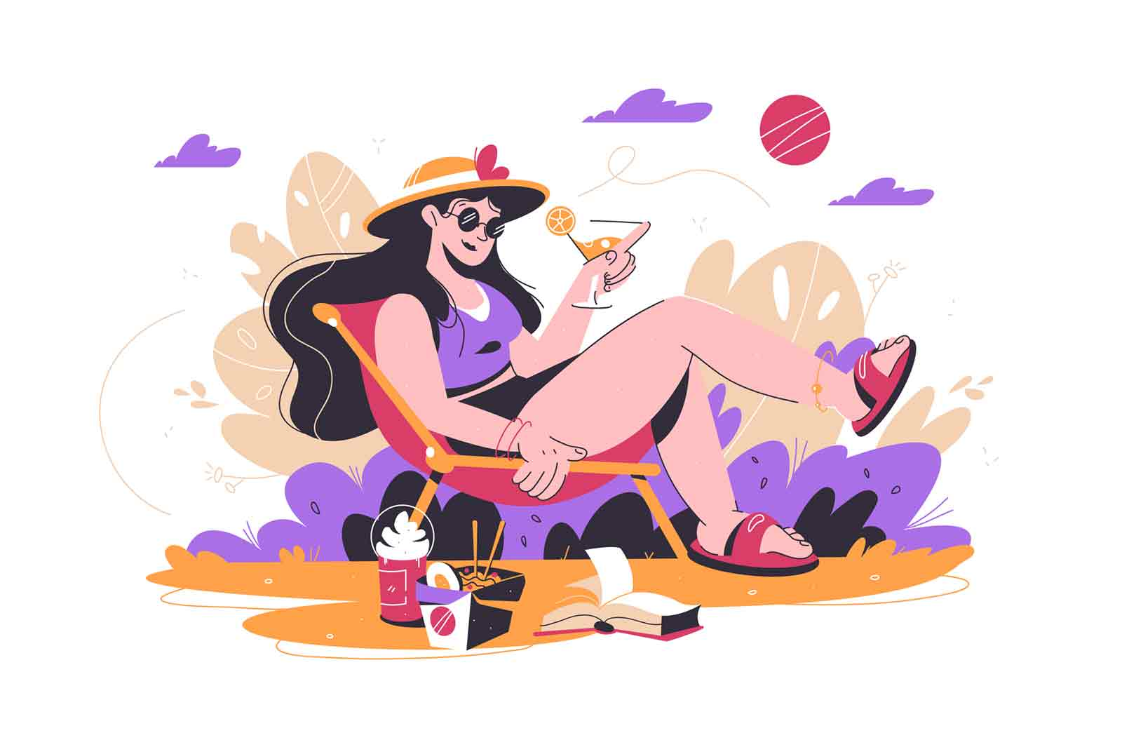 Woman relaxing in park with drink vector illustration. Female on chair sunbath on nature flat style. Fast food and book for relaxation. Weekend, holiday, joy concept. Isolated on white background