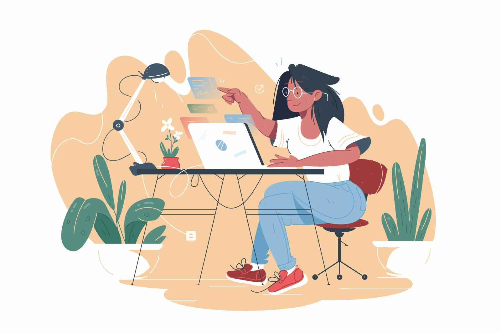 Remote control modern technology vector illustration. Woman using interactive interface for remote control of working process flat style concept