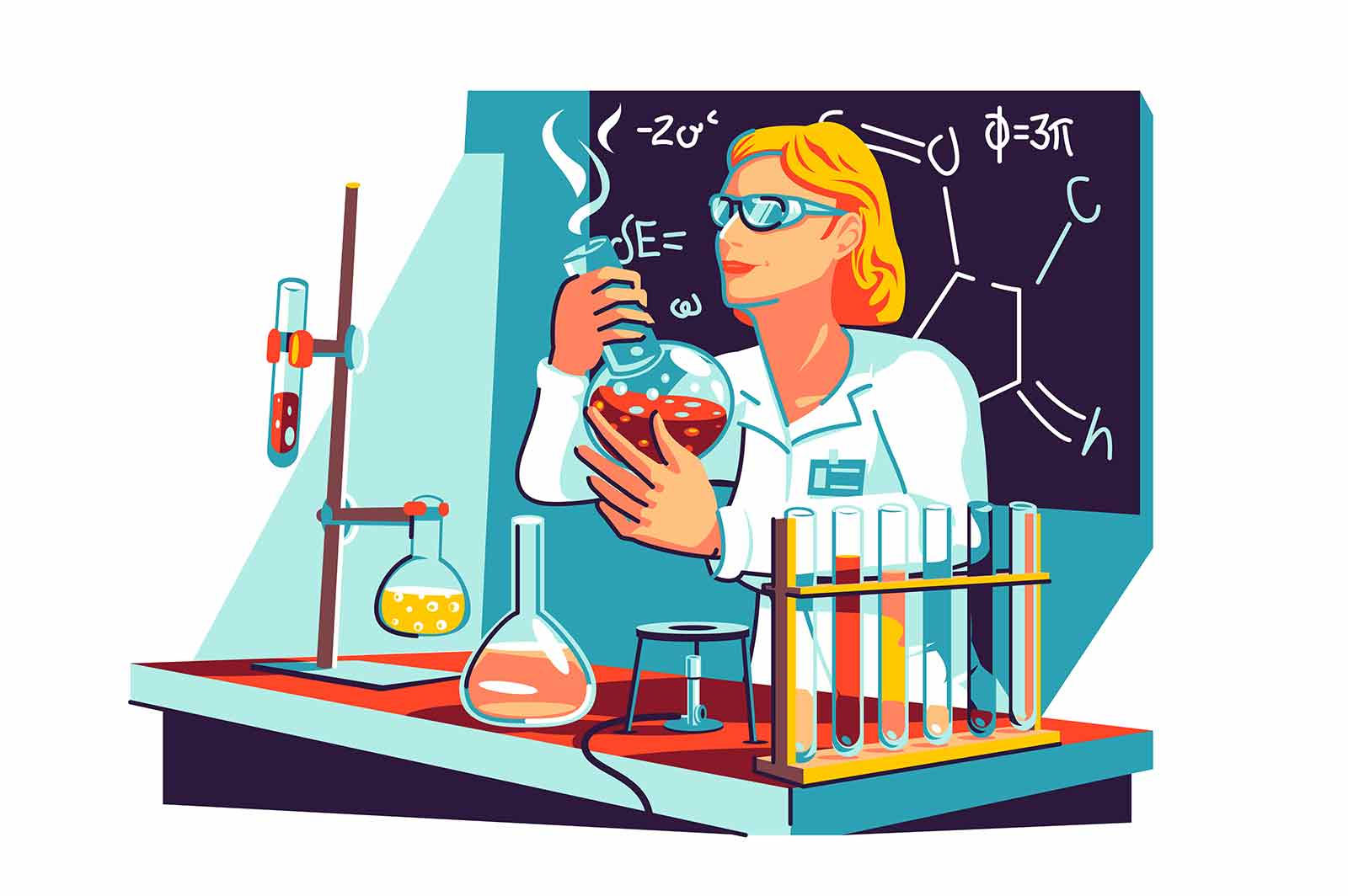 Female scientist in coat in lab vector illustration. Scientist with flasks work on formula flat style. Chemical laboratory research, vaccine discovery, science concept. Isolated on white background