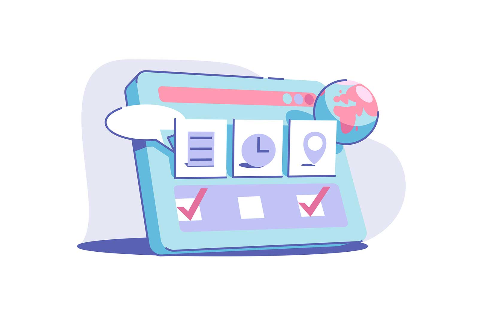 Site service usage vector illustration. Modern device with internet connection and screen tabs. Worldwide search. Technology and fun concept.