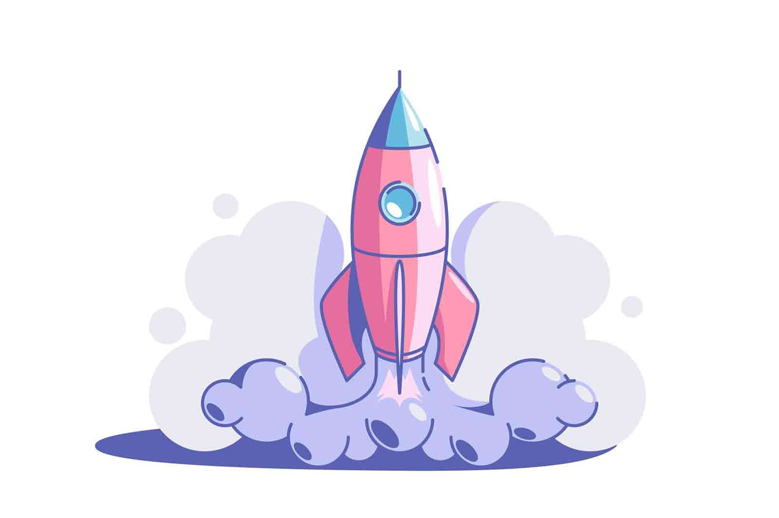 Start up rocket vector illustration. Rocket launch flat style. Business creativity and achievement. Success and goal. New creative idea and strategy.