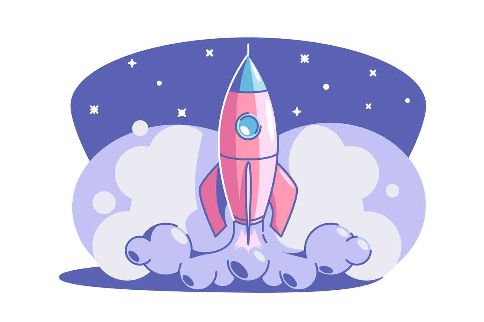 Start up rocket vector illustration. Rocket launch flat style. Business creativity and achievement. Success and goal. New creative idea.