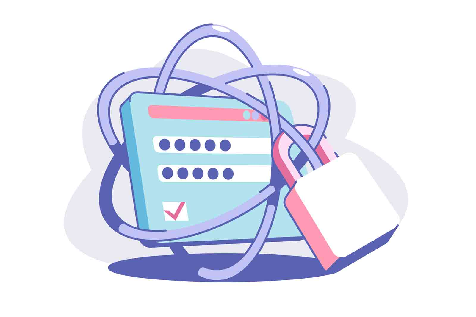 Solid web security vector illustration. Personal data protection with strong password. System and information privacy. Modern technology concept.