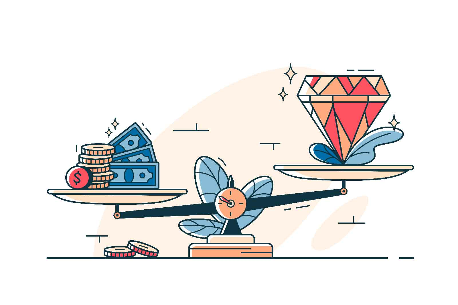 Money cash and precious stone on scales vector line art style. Cash and gem on scalepan. Value of money and jewel idea. Comparing price concept