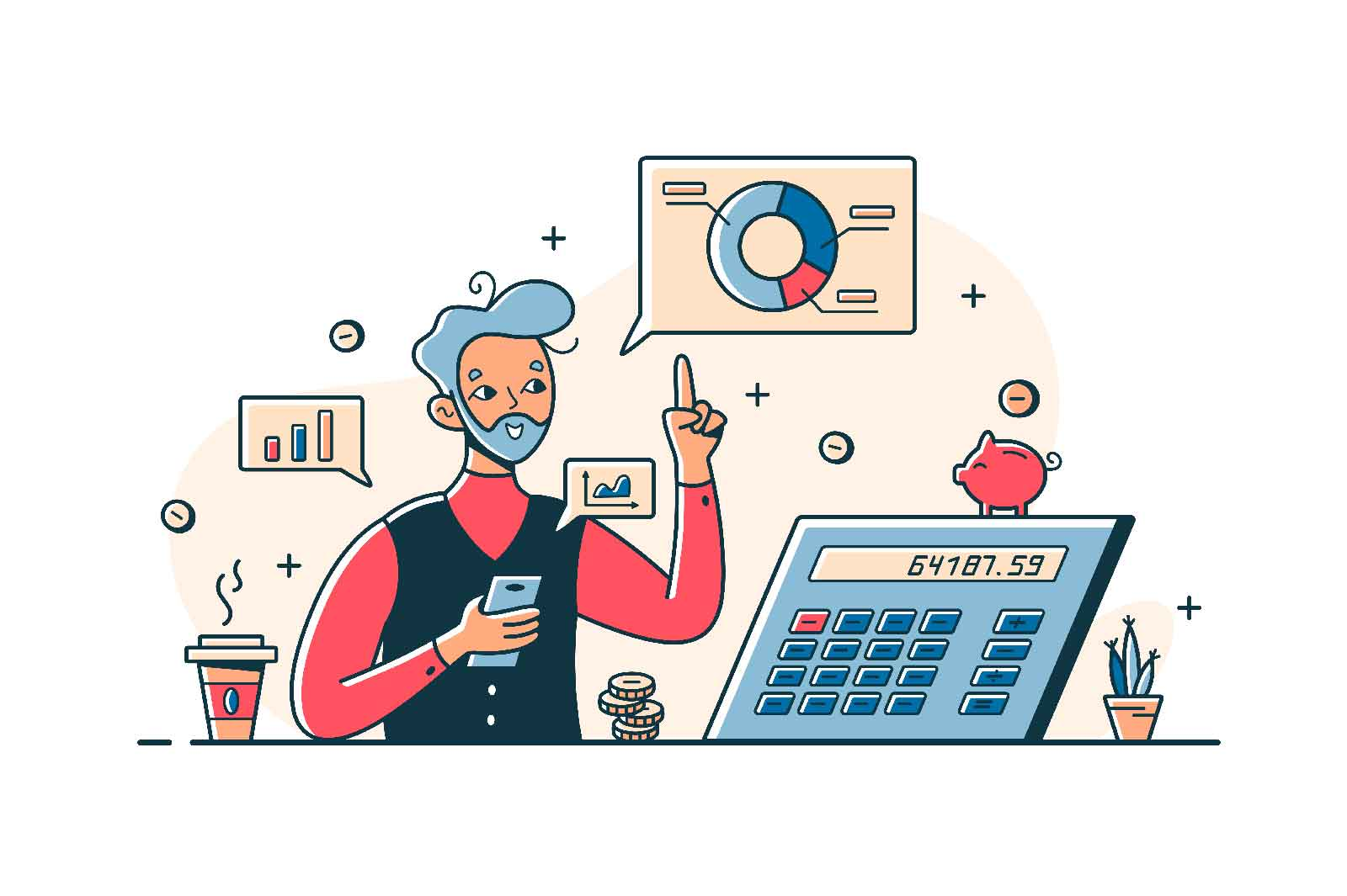 Man counting money vector line concept. Bearded man analyzing incomes using statistics chart, graph and calculator. Statistics data and analysis idea