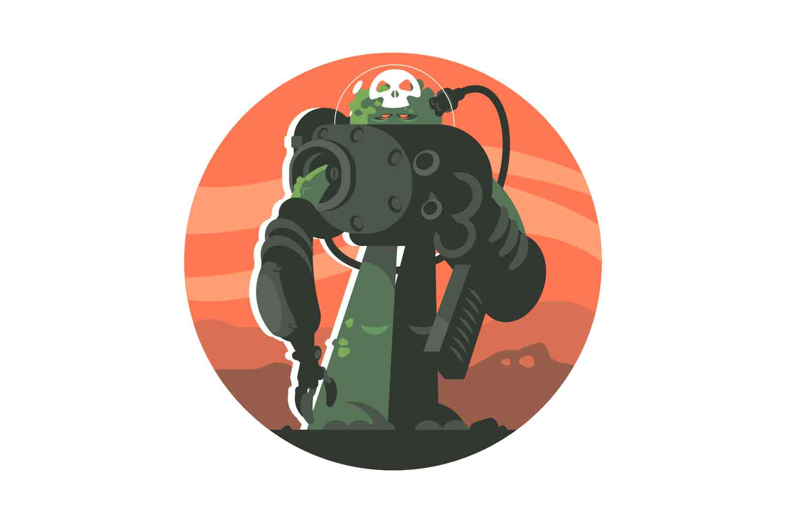 Cucumber man in spacesuit with weapon vector illustration. Veggie explore galaxy in protective gear flat style. Mission, outer space concept