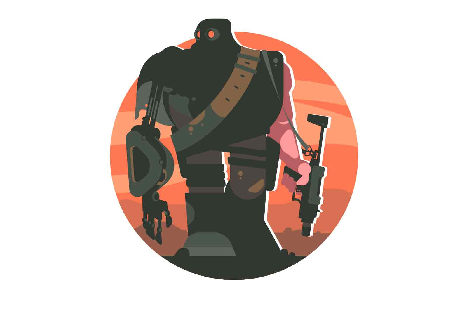Cartoon cyborg with weapon vector illustration. Robot soldier with gun flat style concept. Artificial intelligence and army latest technology idea