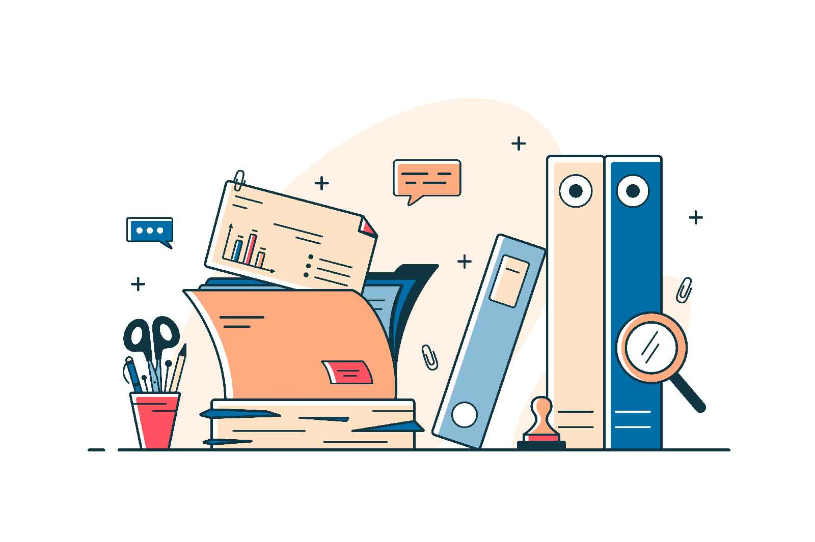 Paper documents and file folders vector line concept. Heap of research documents, official stamp, pens and pencils. Paperwork and office idea
