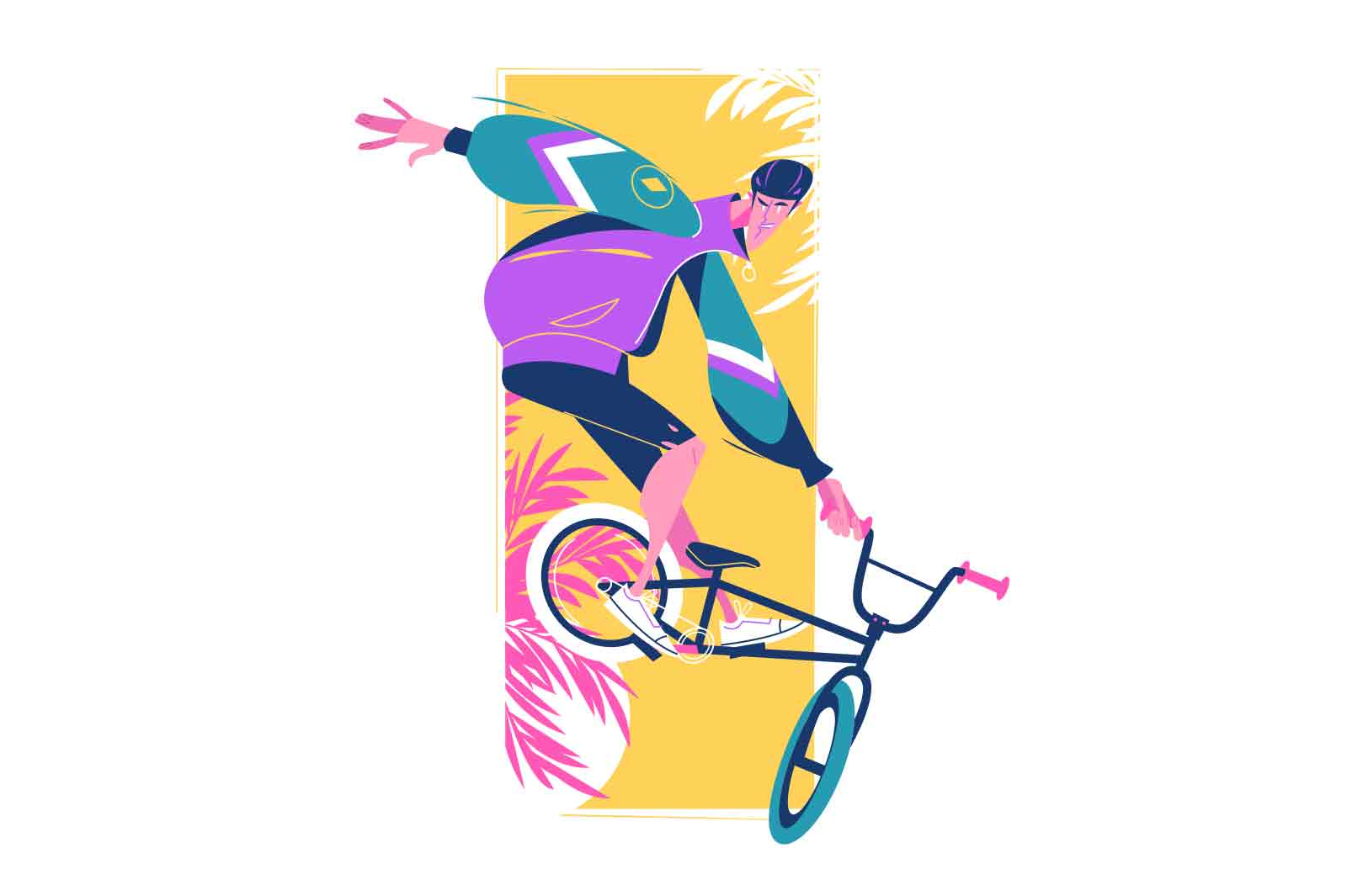 Young guy bmx freestyle sportsman vector illustration. Man ride bicycle and perform tricks flat style. Sport, hobby, extreme cycling concept