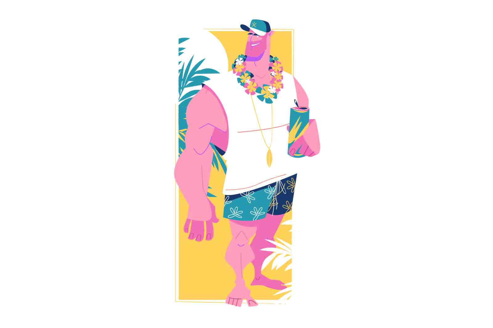 Strong man with cooling drink vector illustration. Dude in tropics with beverage flat style. Vacation, summertime, relaxation concept