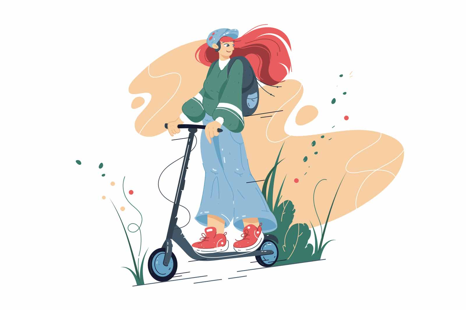 Smiling girl riding on electric scooter vector illustration. Happy teenager on scooter flat style concept. Eco-friendly alternative urban transport idea