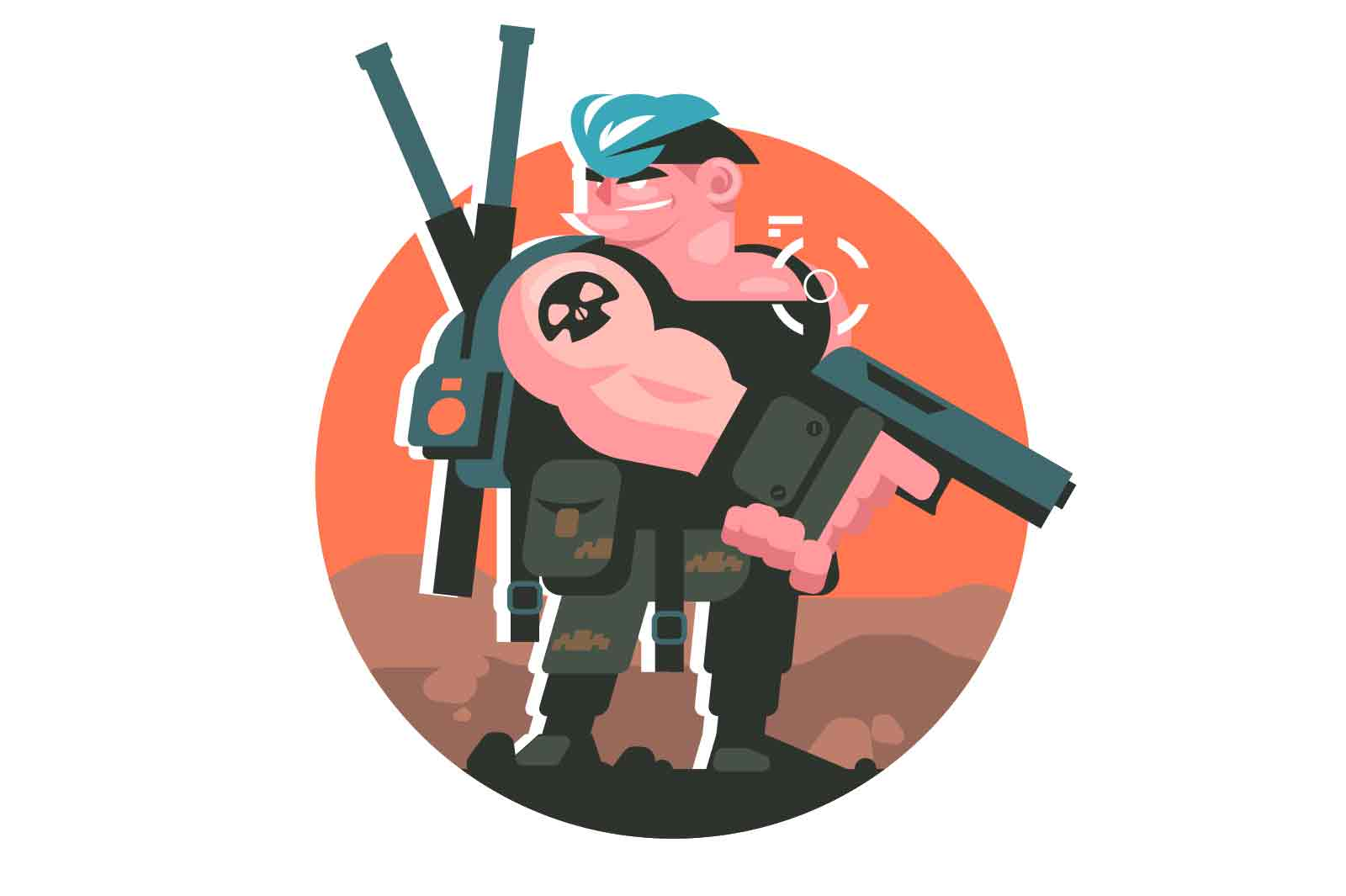 Gamer boy character with weapons vector illustration. Player with gun, shooting in aim flat style. Online games, addiction concept