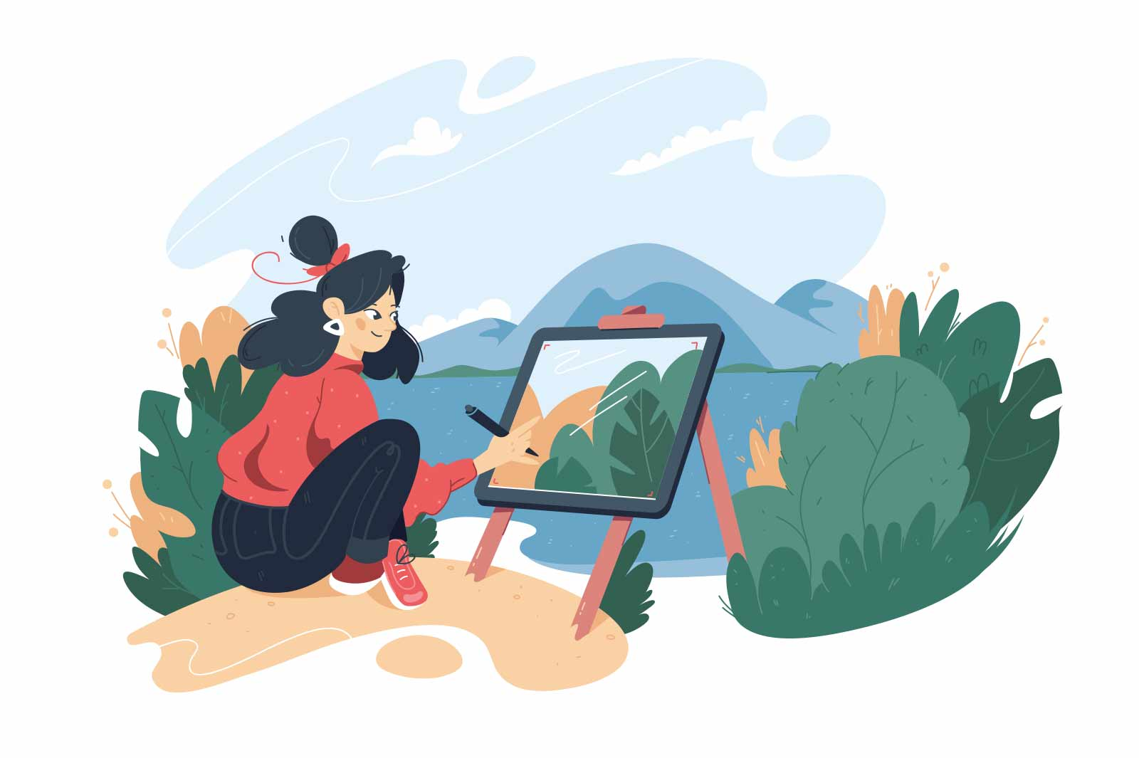 Girl draw picture in nature vector illustration. Woman create masterpiece on easel, country view flat style. Art, hobby, creativity concept