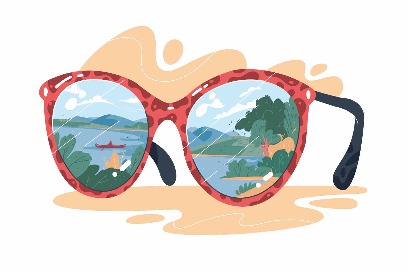 Sun glasses accessory with view vector illustration. Glasses with leopard print, nature landscape in reflection flat style. Fashion concept