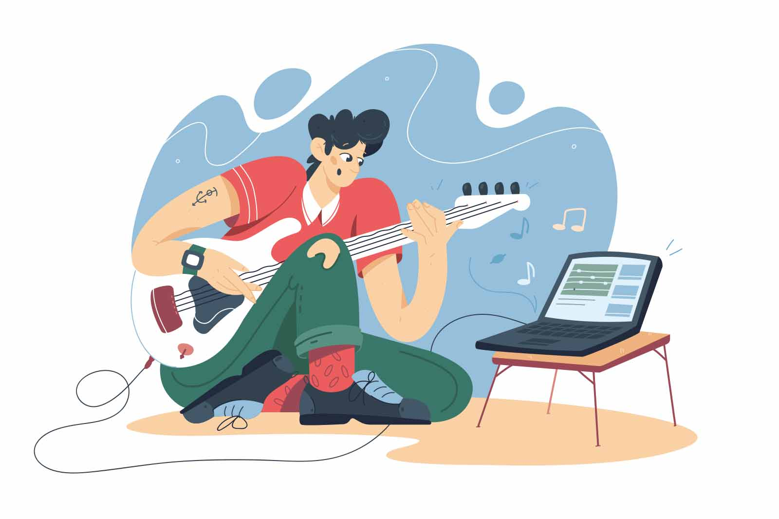 Guy training on guitar online vector illustration. Man take music lesson on laptop, repeat song flat style. Music, education, hobby concept