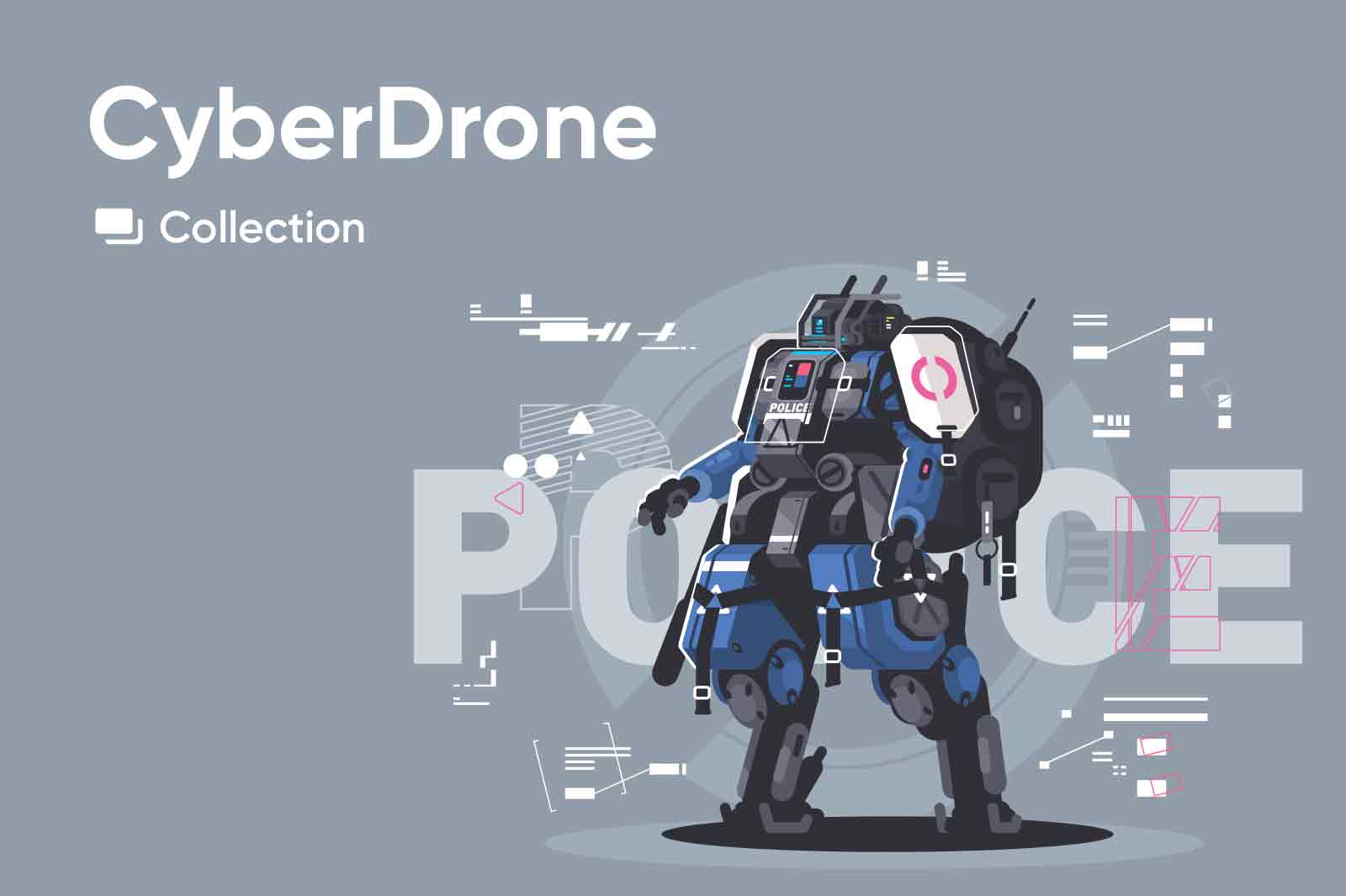 Vector illustrations of hi tech cyber technologies of the near future, advanced drones and robots characters.