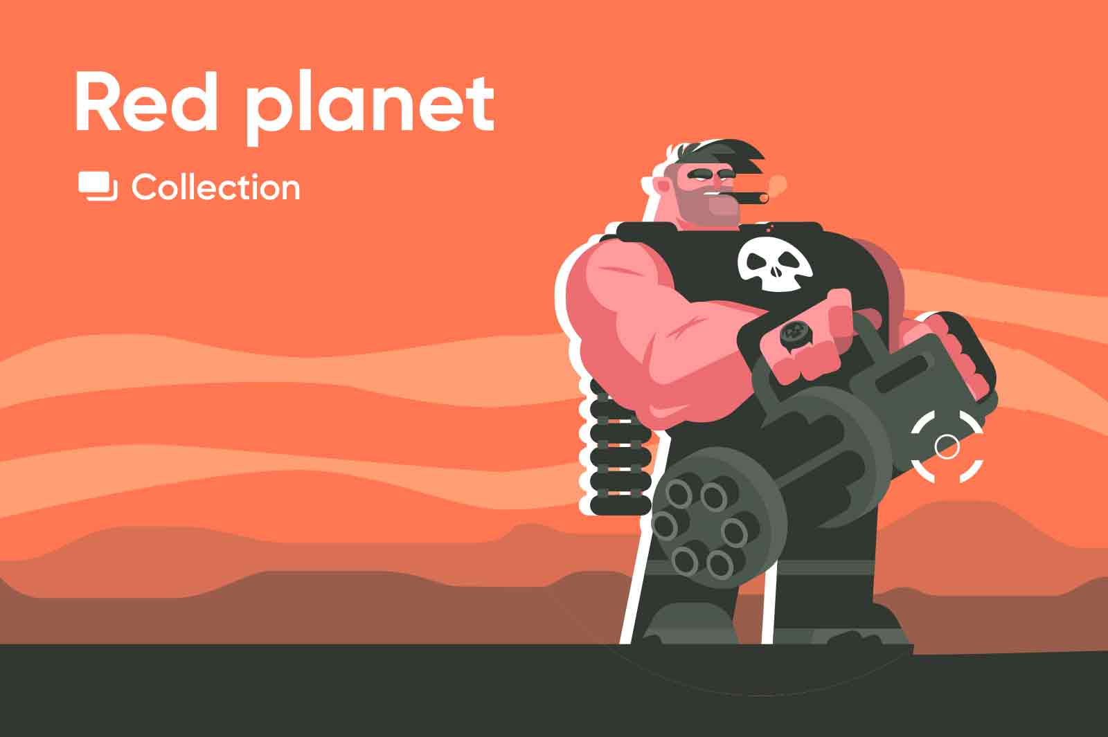 Brutal character illustration series made in classic flat style with and atmosphere Mars planet.