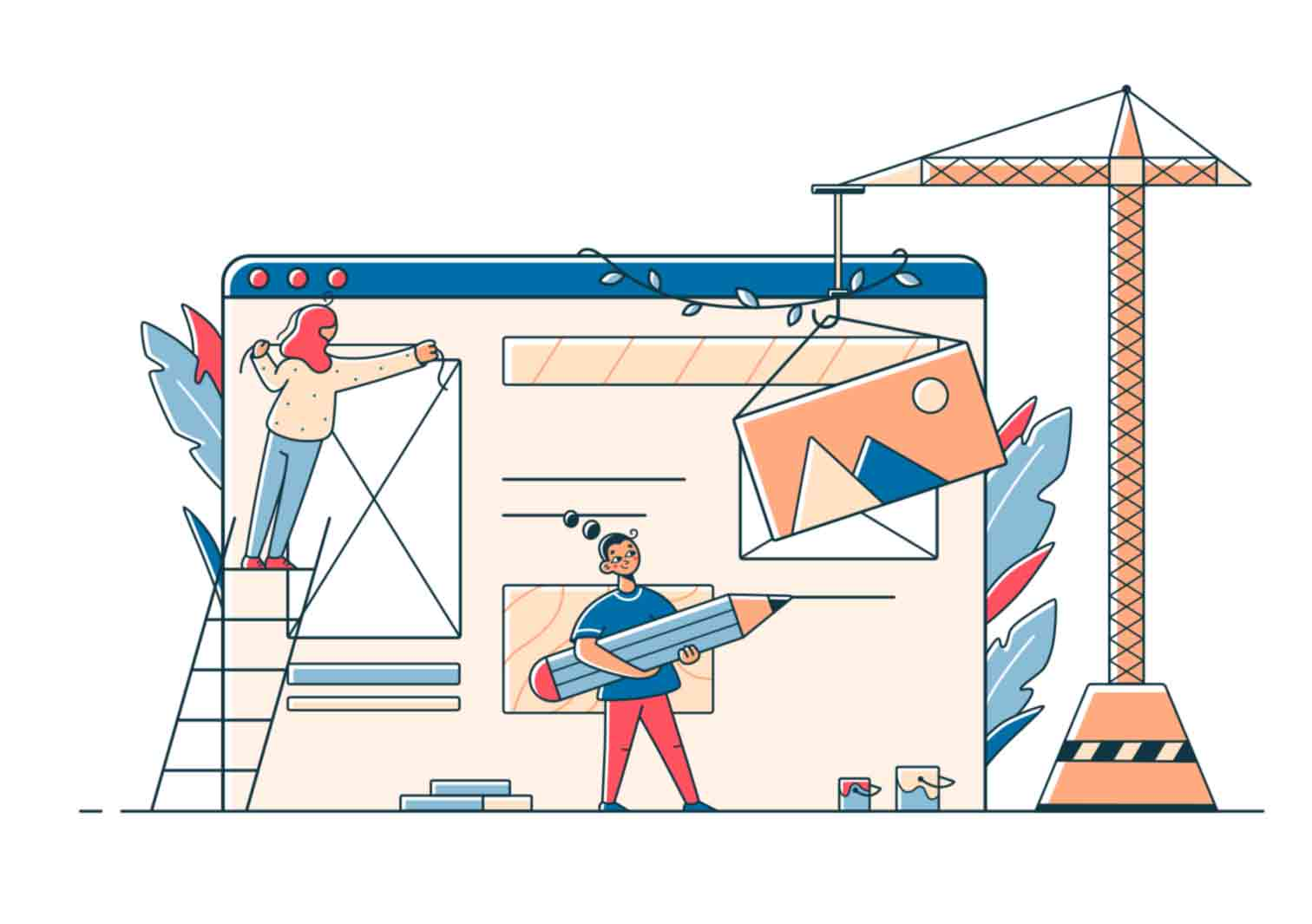 Vector illustrations with characters in various situations made in linear style with limited color pallet.