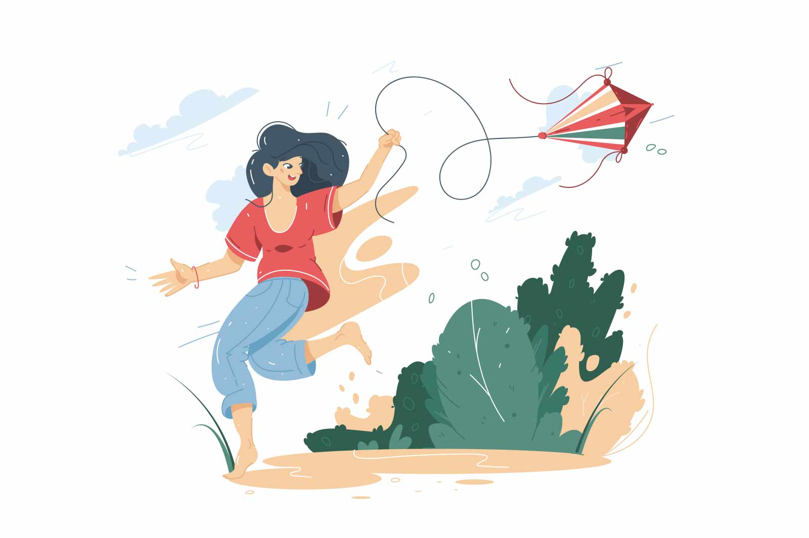 Happy smiling woman flying a kite vector illustration. Teenager having fun with kite in park flat style concept. Leisure time idea