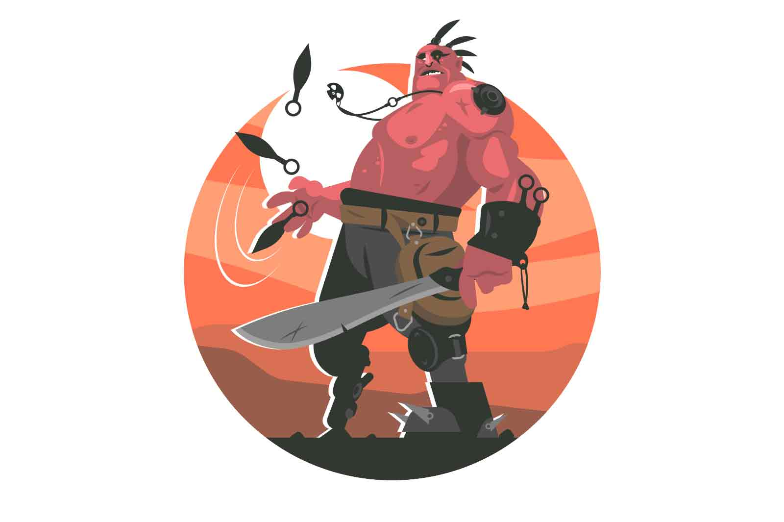Сharacter of a thug with a machete vector illustration.