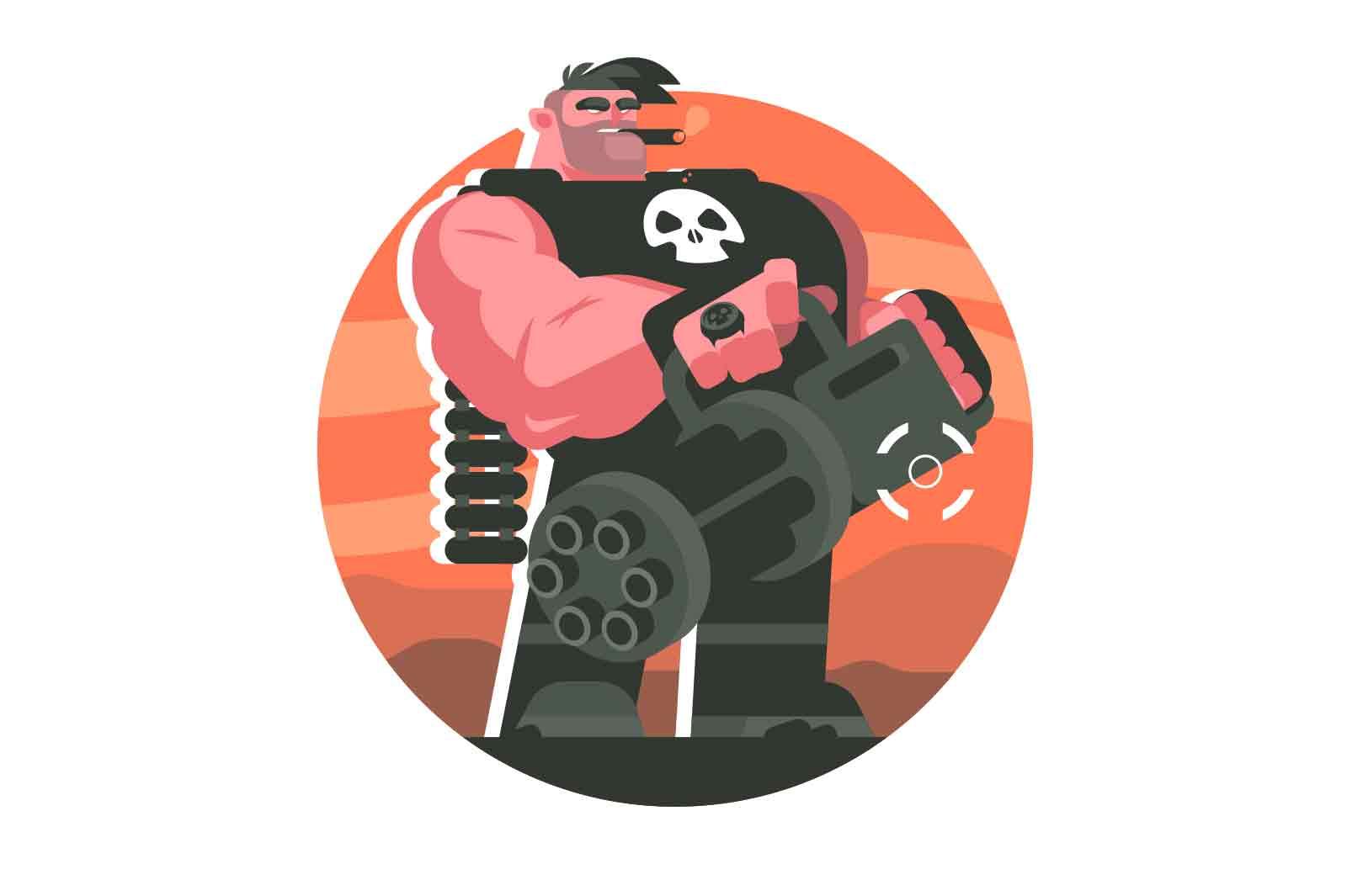 Brutal machine gunner on battle field vector illustration. Cruel smoking man soldier holding machine gun flat style concept. Warrior and war idea
