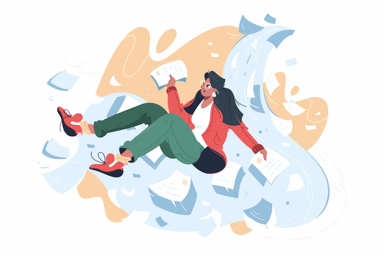 Girl surrounded with pile of documents vector illustration. Stressed office clerk with papers flat style. Deadline, overwork, stress concept