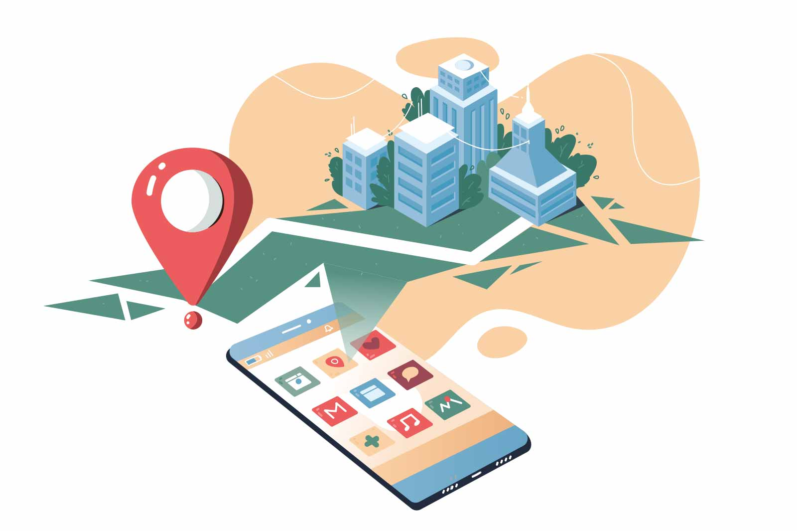 Smartphone application with city map vector illustration. Route plan with red pin flat style. Online GPS app, web navigation service concept