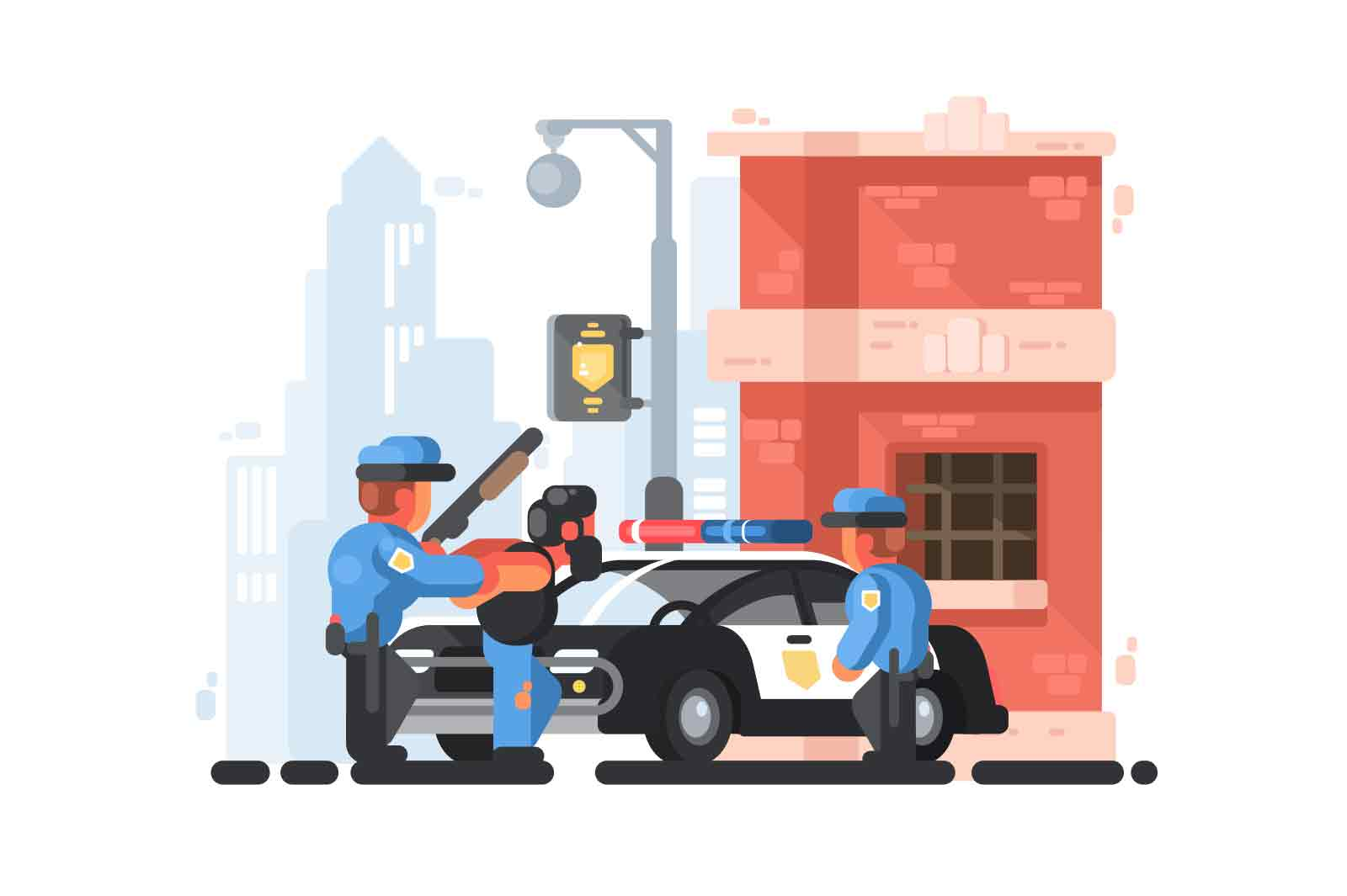 Police station and patrol with detainee in handcuffs. Vector illustration