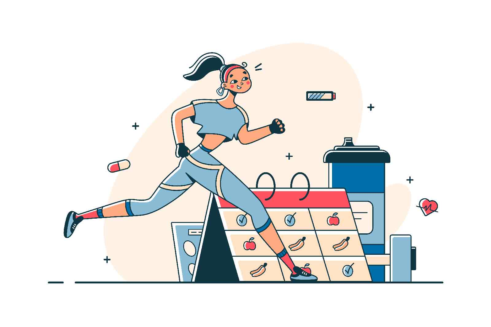 Woman do sports according to schedule vector illustration. Getting physical strength flat style. Active time and healthy lifestyle concept