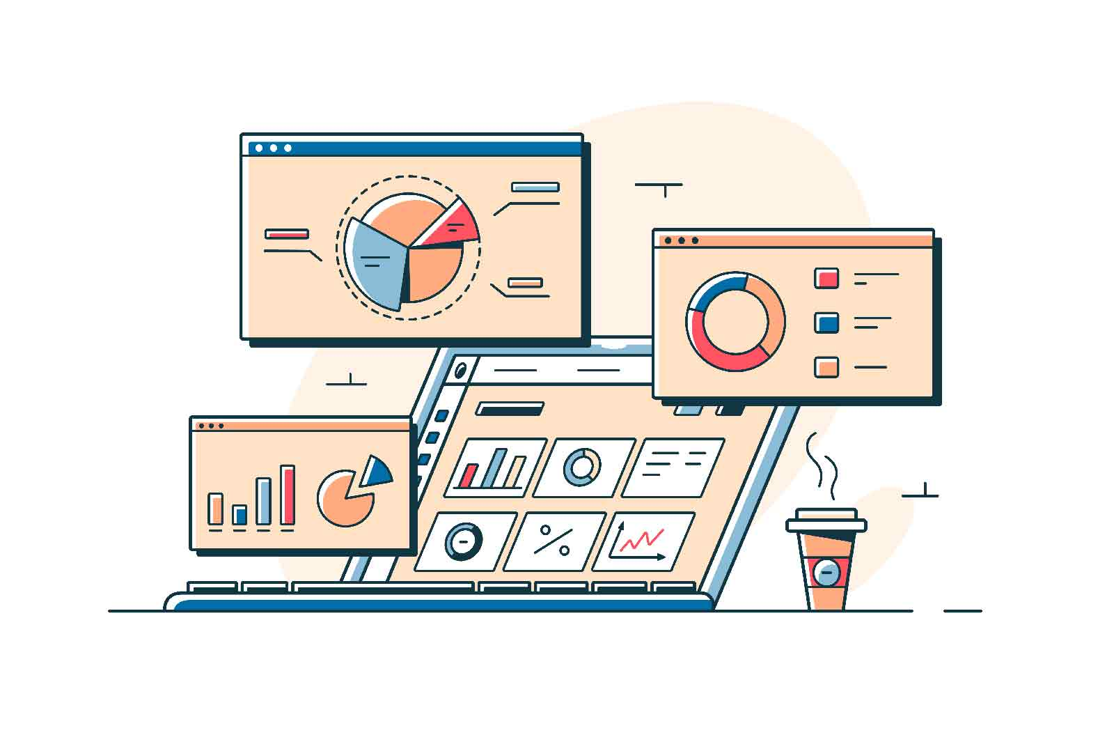 Charts and analyzing statistics on screens vector illustration. Digital device with data visualisation flat style. Infographic dashboard, business statistics concept. Isolated on white background