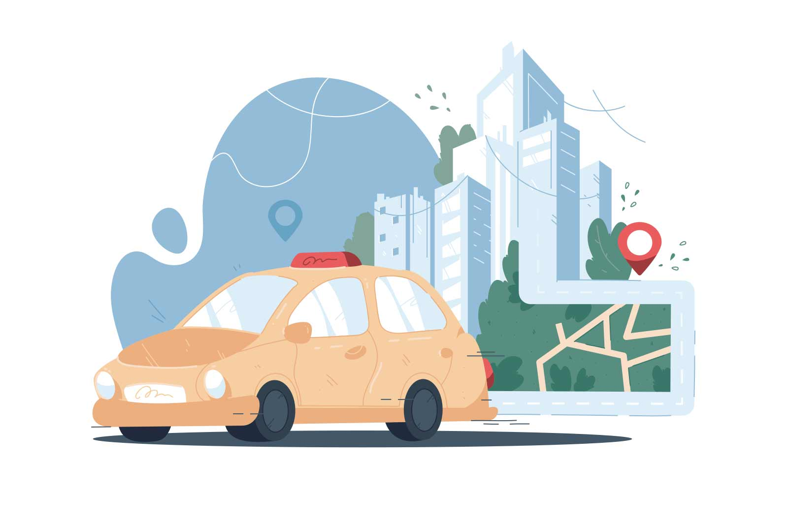 Taxi service online app vector illustration. Yellow taxi cab and online city map with location pin on cityscape background flat style concept