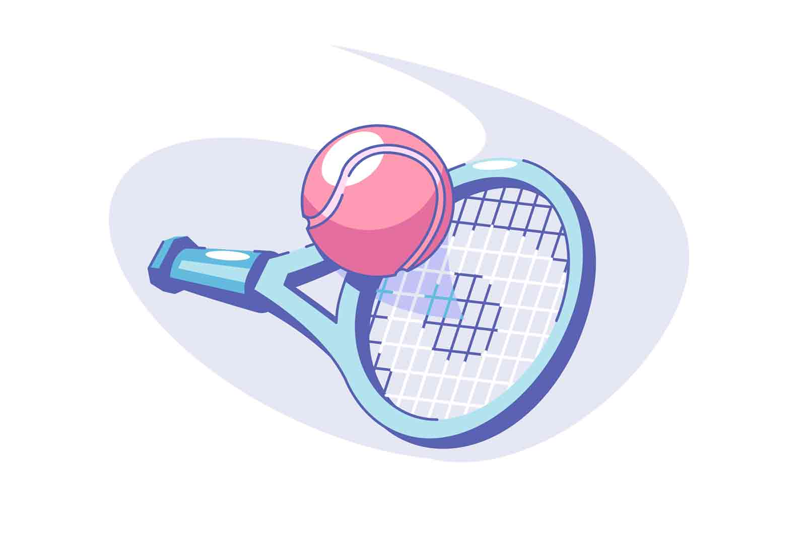 Tennis sport game vector illustration. Ball and racket flat style. Equipment for competition or tournament. Sport game and active lifestyle concept.