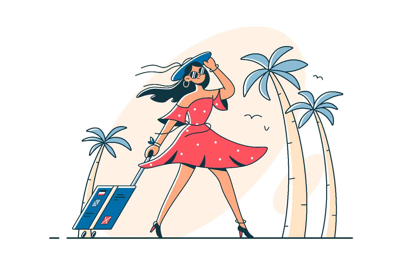 Girl on vacation with luggage vector illustration. Woman in dress, palm trees, suitcase flat style. Travel, summer holiday, tropics concept