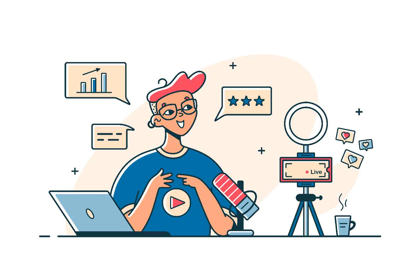 Guy recording vlog video on camera vector illustration. Man talk live on digital device flat style. Vlogger, blogger, social media concept