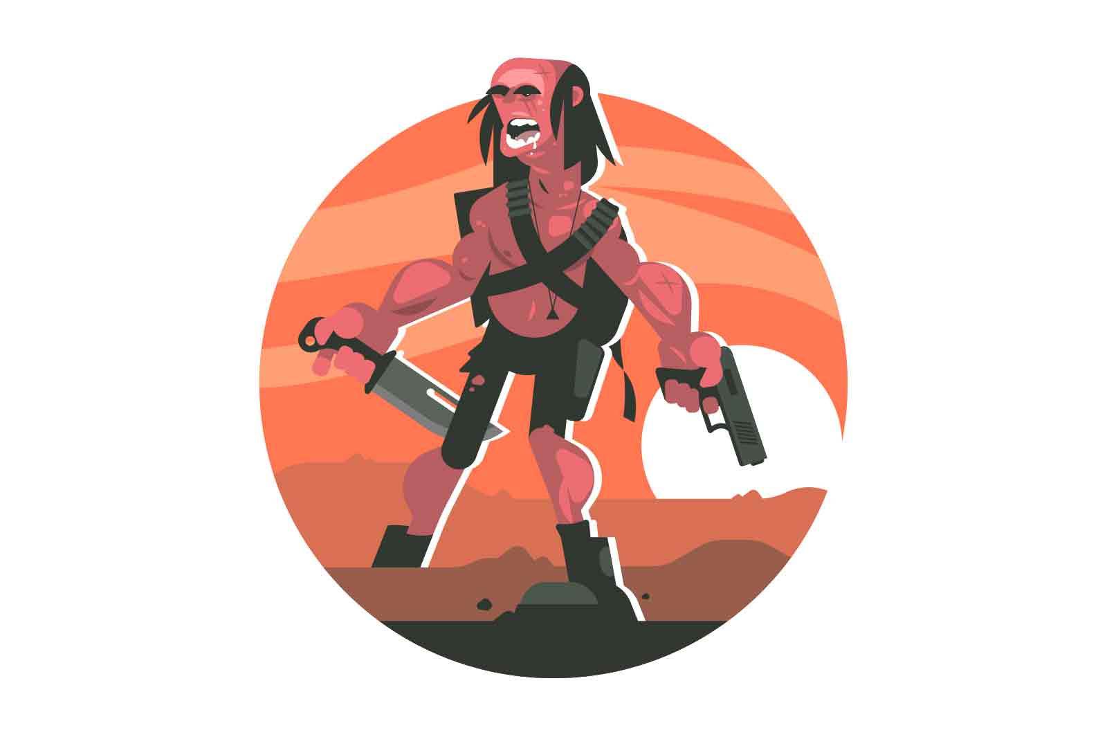 Cruel wanderer with weapons vector illustration. Terrible man holding gun and knife in hands concept. Horrible guy with firearms on battle field.