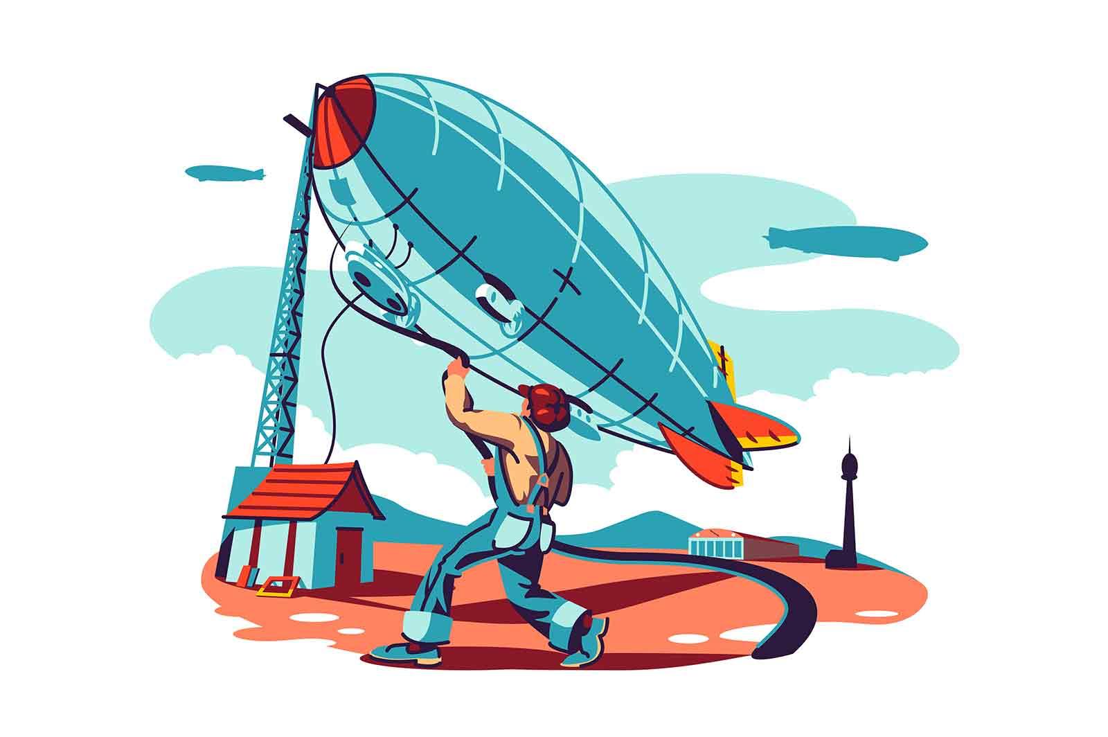 Man trying controls airship vector illustration. Dirigible flying in sky. Retro zeppelin flight flat style concept. Aeronautics technology idea