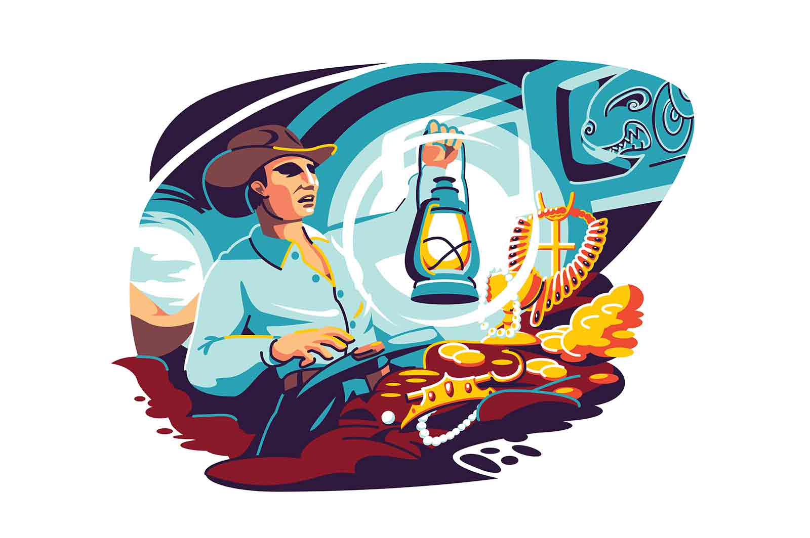 Lucky male hunter finding treasure vector illustration. Man digging gold, jewels and golden coins flat style concept. Guy becomes rich. Enrichment and fortune idea
