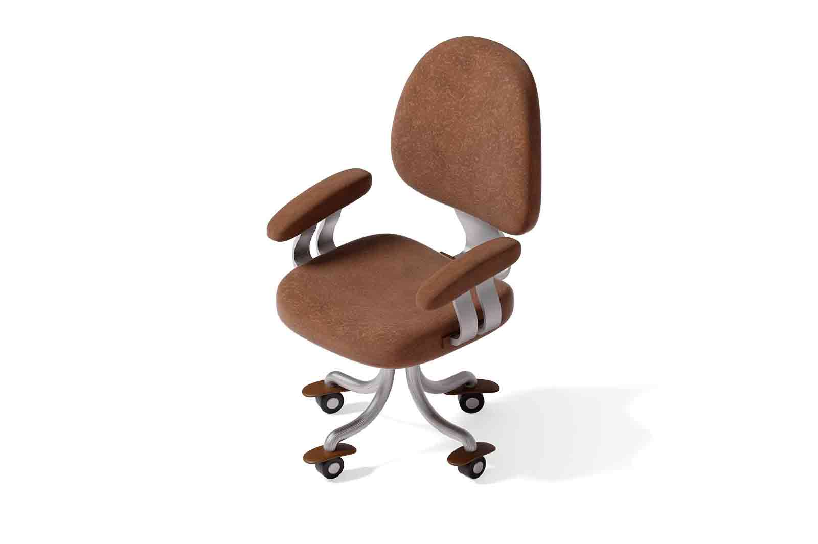 Modern brown office chair 3d rendered illustration. Isometric armchair model with metal base on wheels. Office furniture concept