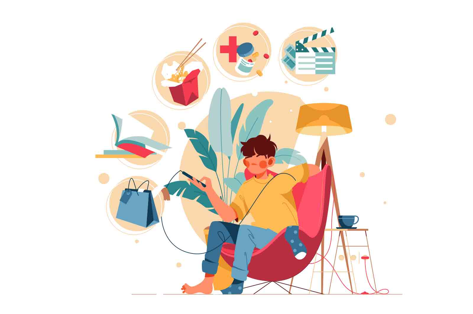 Guy using smartphone while stay at home Animation. Man character in chair holding mobile phone choosing online video or making an order. Lottie, After Effects.