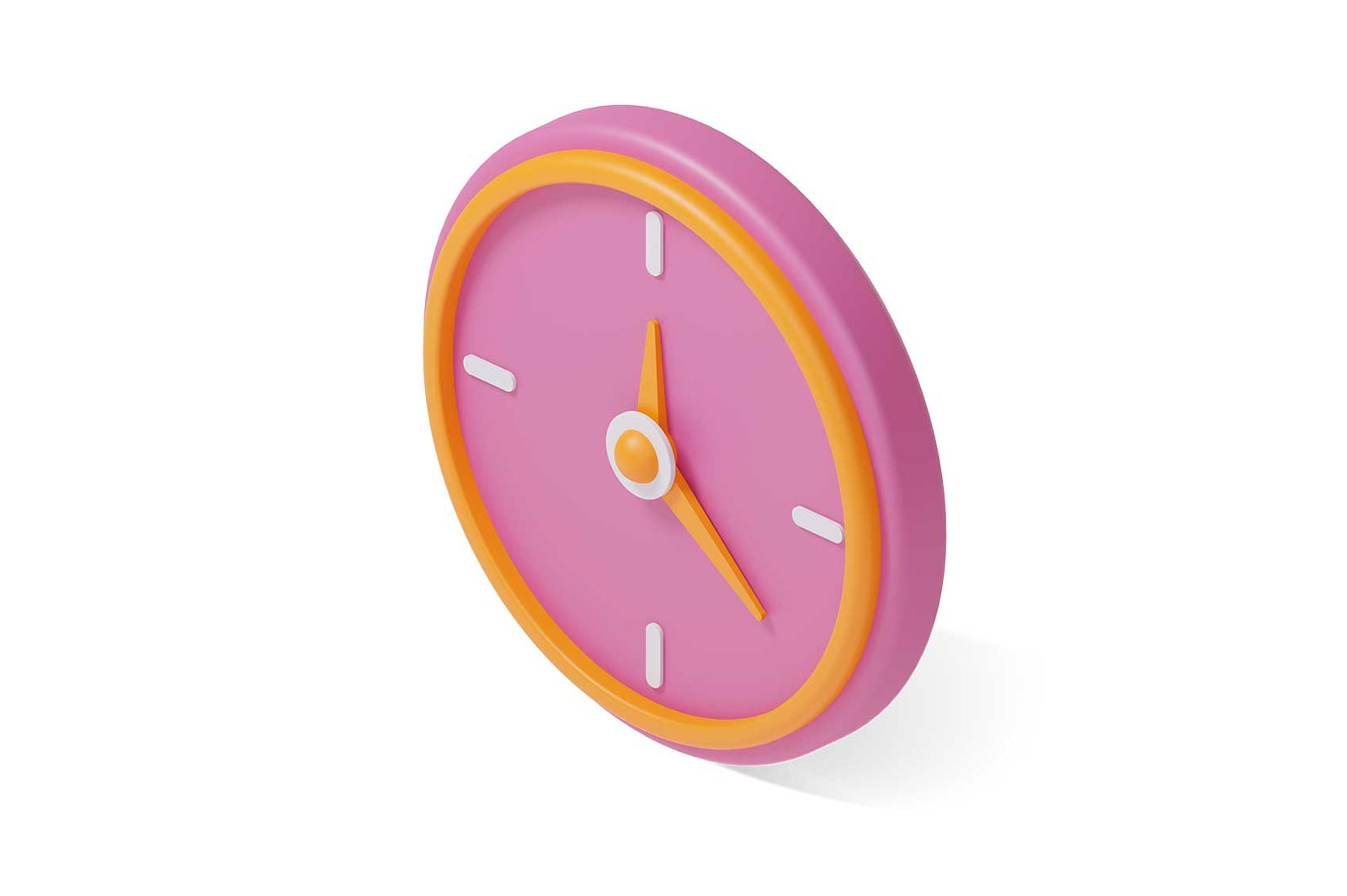 Pink wall clock with orange hands 3d rendered illustration. Minimalistic watch on white background. Business timer. Isometric design element for project