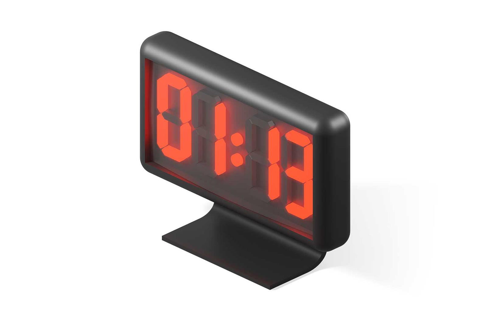 Black digital watch face with red numbers 3d rendered illustration. Isometric modern alarm-clock. Clock numbers with bright illuminated led