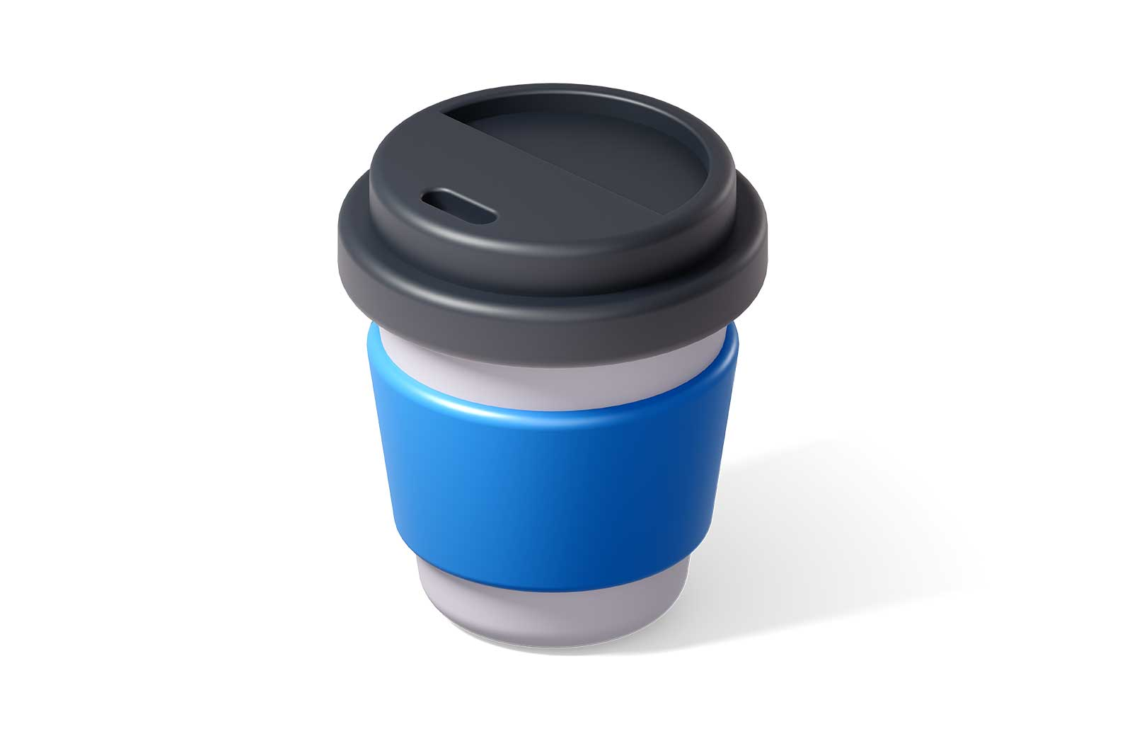 Paper coffee or tea cup with cap 3d rendered illustration. Isometric plastic glass with lid mockup. Disposable paper cup. Coffee break concept