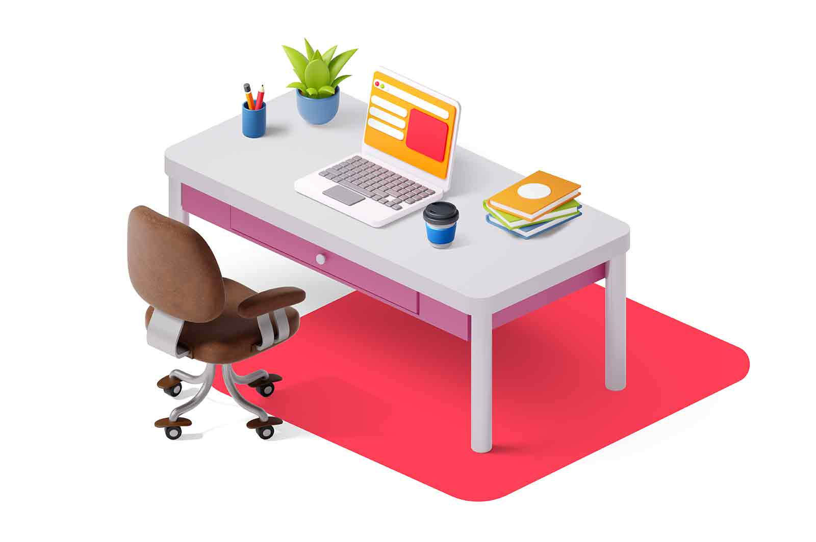 Workspace with table laptop and chair 3D rendered illustration. Office workplace, cosy interior design.