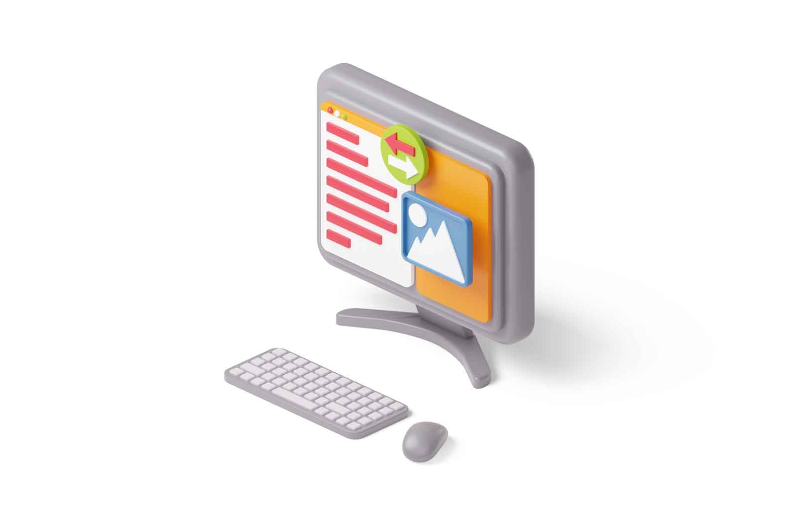 Modern computer, keyboard and mouse 3d illustration. Isometric personal computer. Website programming and coding. Web development concept