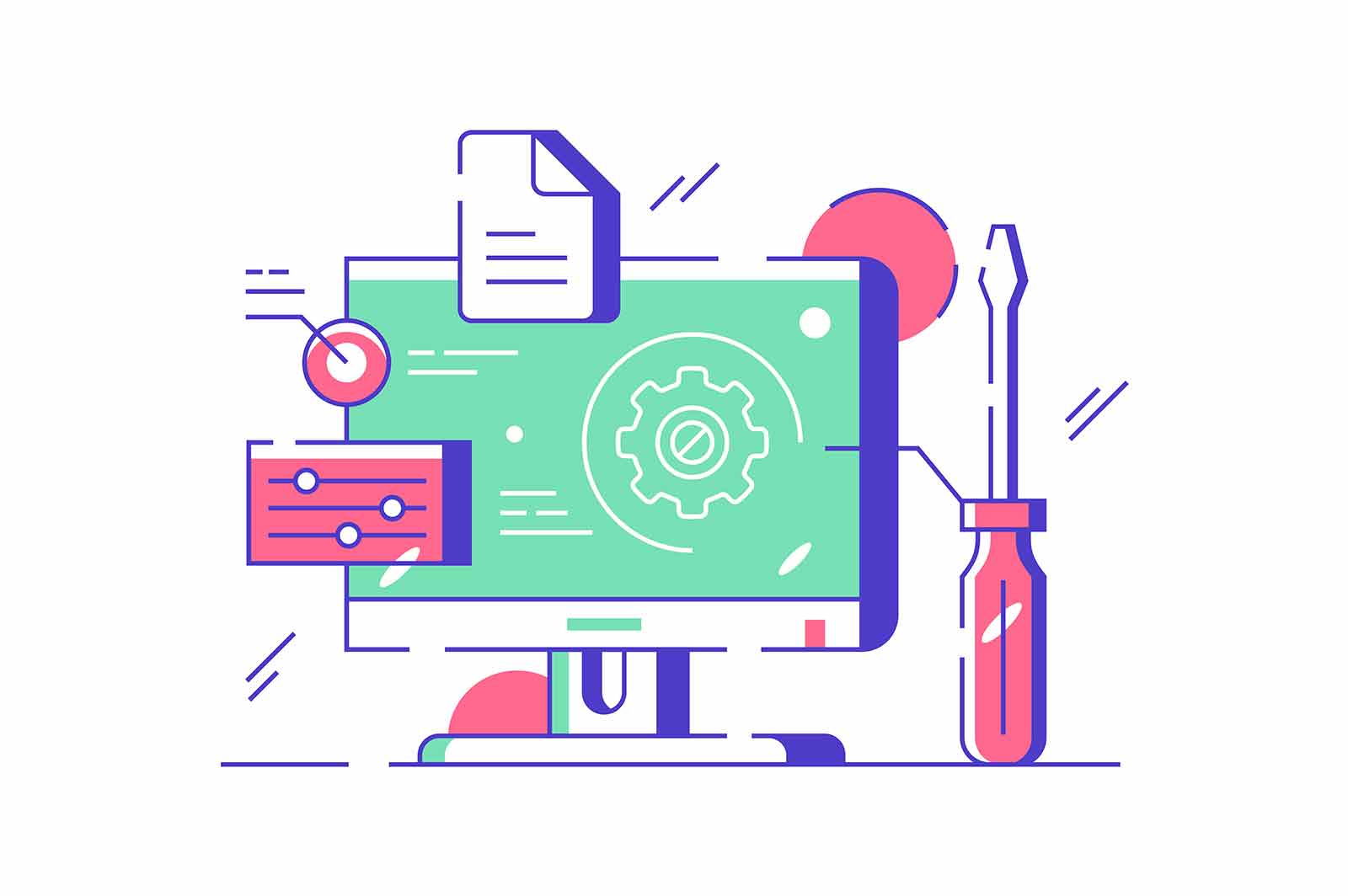 Customization and setting design online vector illustration. Touch screen device setting flat style. System update, setting operating system, cloud storage concept. Isolated on white background