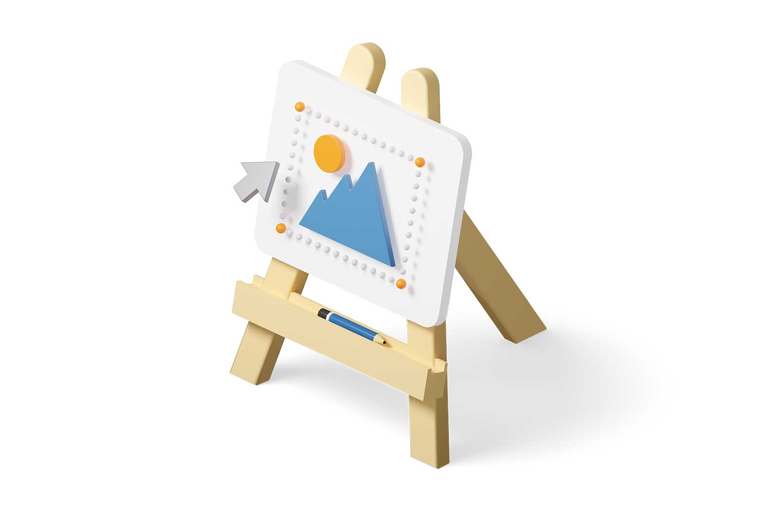 Digital easel stand with picture and cursor sign 3d rendered illustration. Isometric electronic painting canvas on easel. Online art education or drawing courses idea