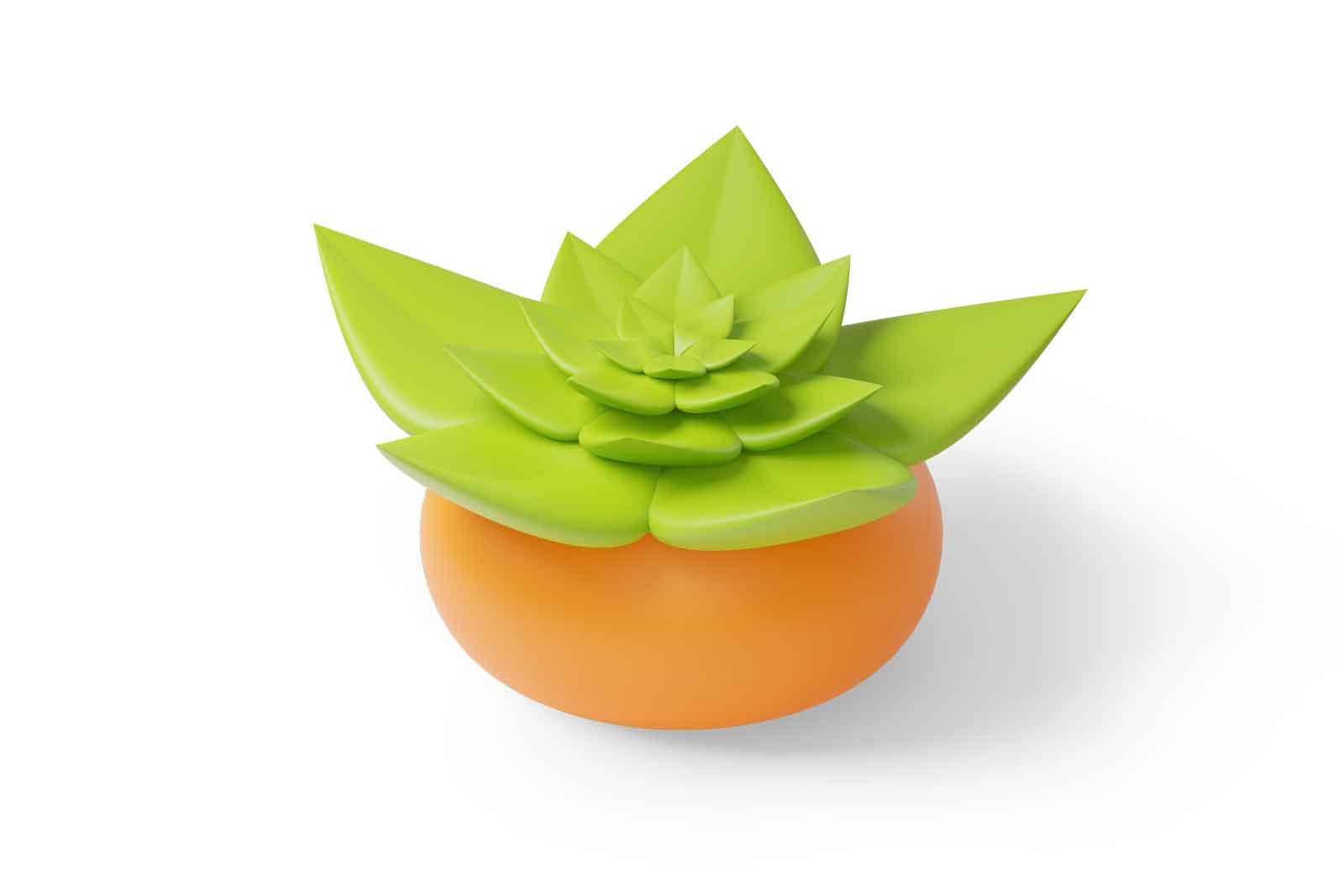 Orange flowerpot for decorating the interiors of apartments 3d illustration. Isometric green decorative houseplant in pot. Element for interior design